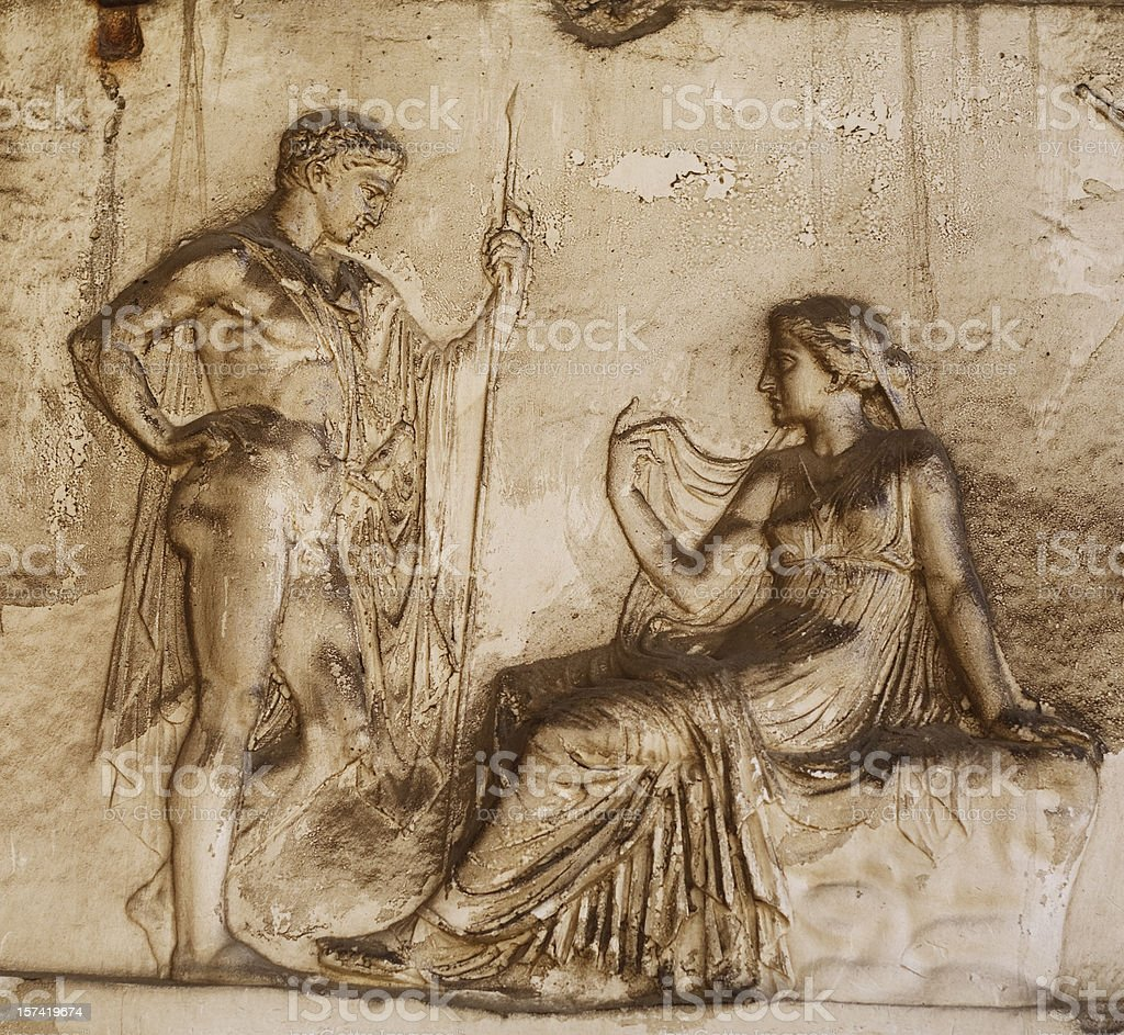 Roman Relief in Herculaneum stock photo