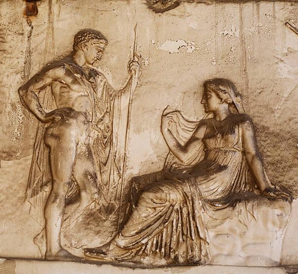 Roman Relief in Herculaneum stock photo
