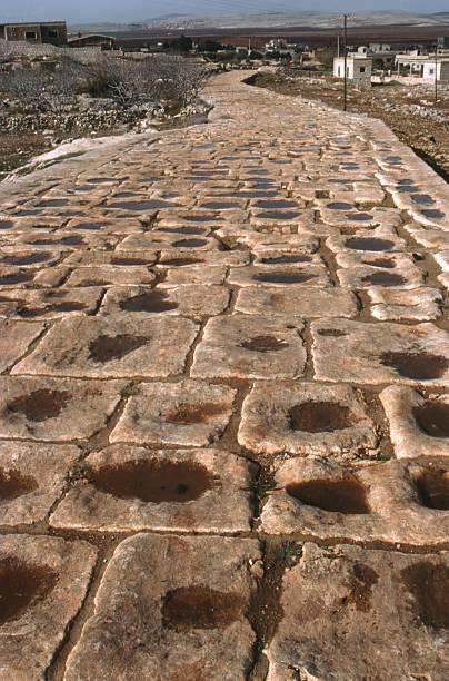 Roman road Syria stock photo