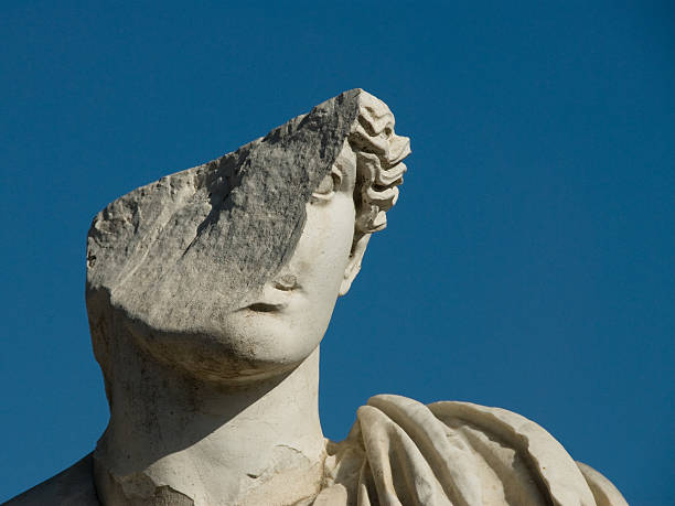 Roman Ruins - Ostia Antica A damaged statue in Ostia Antica statue stock pictures, royalty-free photos & images