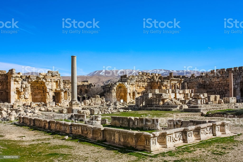 Roman Ruins at the Great Court in Baalbek Lebanon stock photo