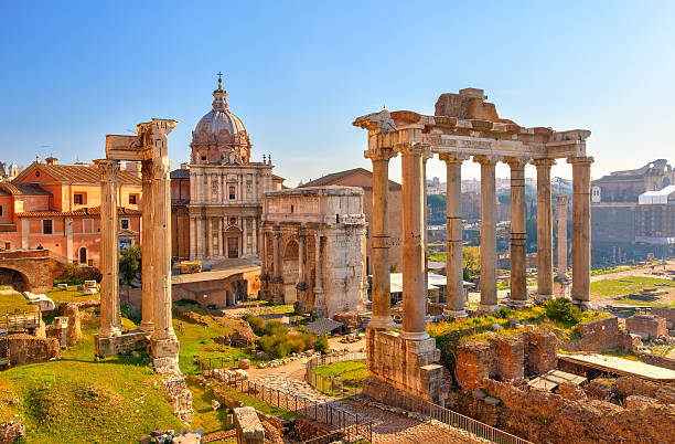 Roman ruins in Rome, Forum Roman ruins in Rome, Italy rome italy stock pictures, royalty-free photos & images