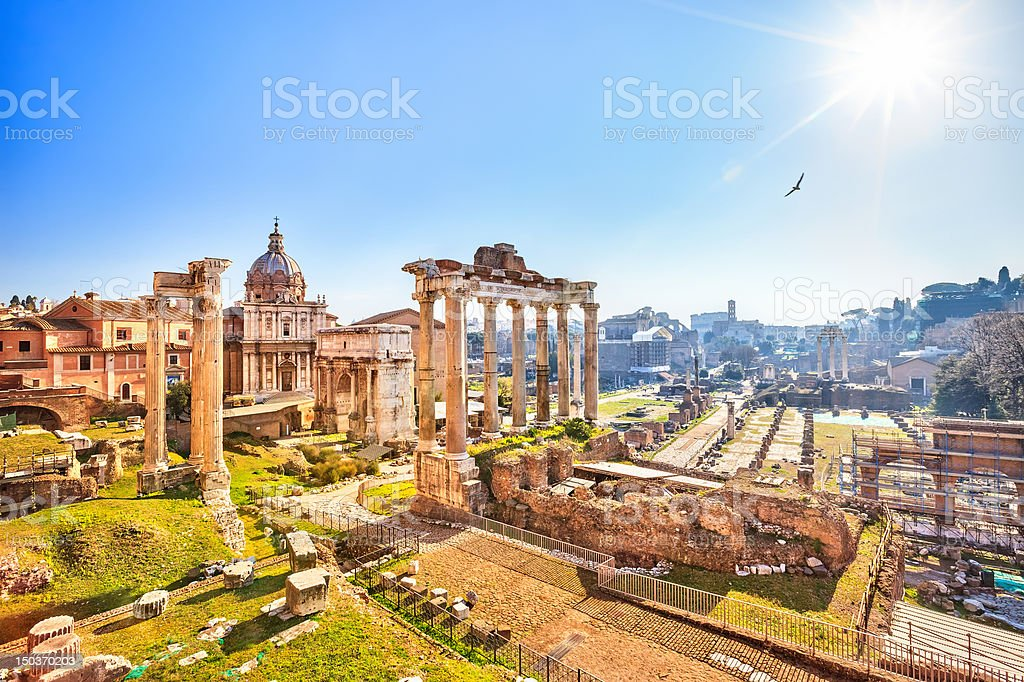 Roman ruins in Rome, Forum Roman ruins in Rome, Italy Ancient Stock Photo