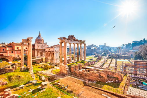 Roman Ruins In Rome Forum Stock Photo - Download Image Now