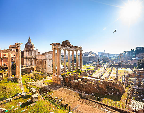 Roman ruins in Rome, Forum Roman ruins in Rome, Italy roman forum stock pictures, royalty-free photos & images