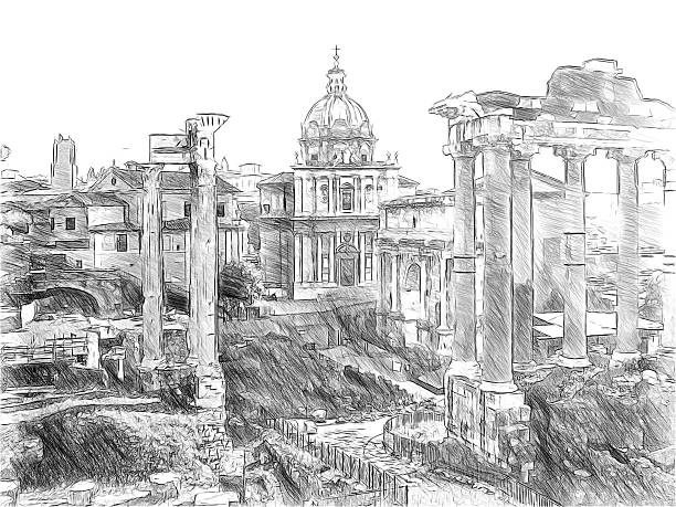 Roman ruins in Rome, Forum Romanum. Illustration in draw Roman ruins in Rome, Forum Romanum. Illustration in draw, sketch style palatine hill rome stock pictures, royalty-free photos & images