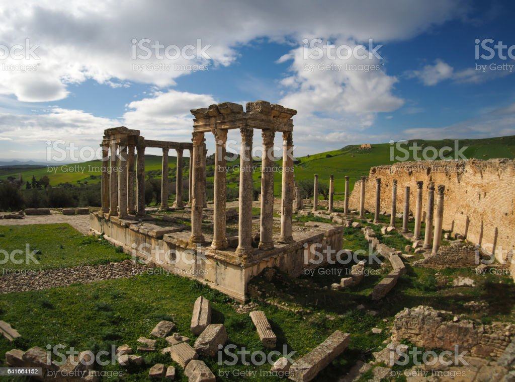 Roman ruins in Tunisia, northern Africa stock photo