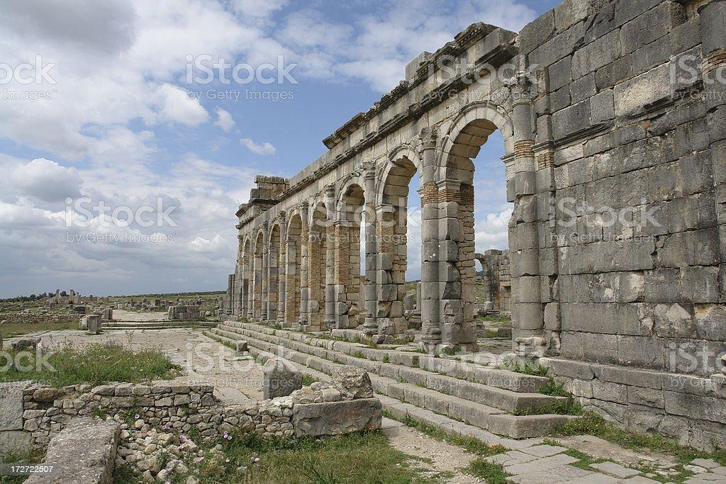 Römische Ruinen in Volubilis, Marokko Lizenzfreies stock-foto