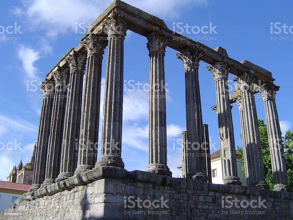 Roman Ruins in Évora, Portugal stock photo