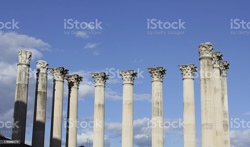 Roman ruins of a temple stock photo