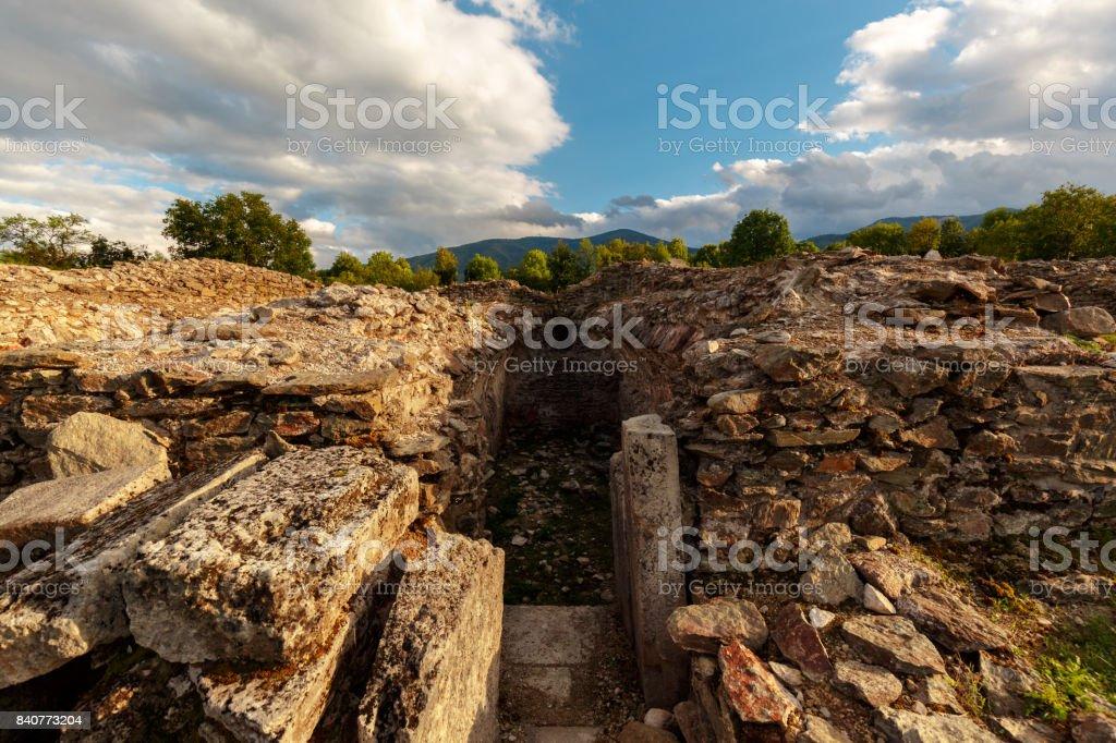 Roman ruins of Sarmizegetusa in Deva, Romania stock photo