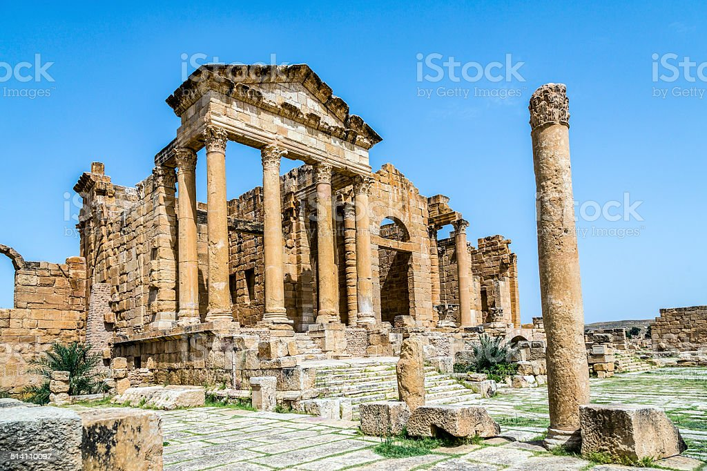 Roman ruins of Sufetula near Sbeitla stock photo