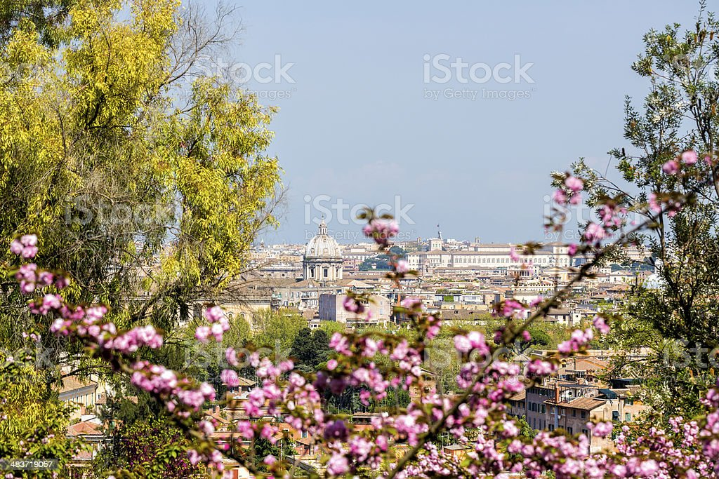 Roman skyline with Japanese Cherry tree in April, Rome Italy royalty-free stock photo