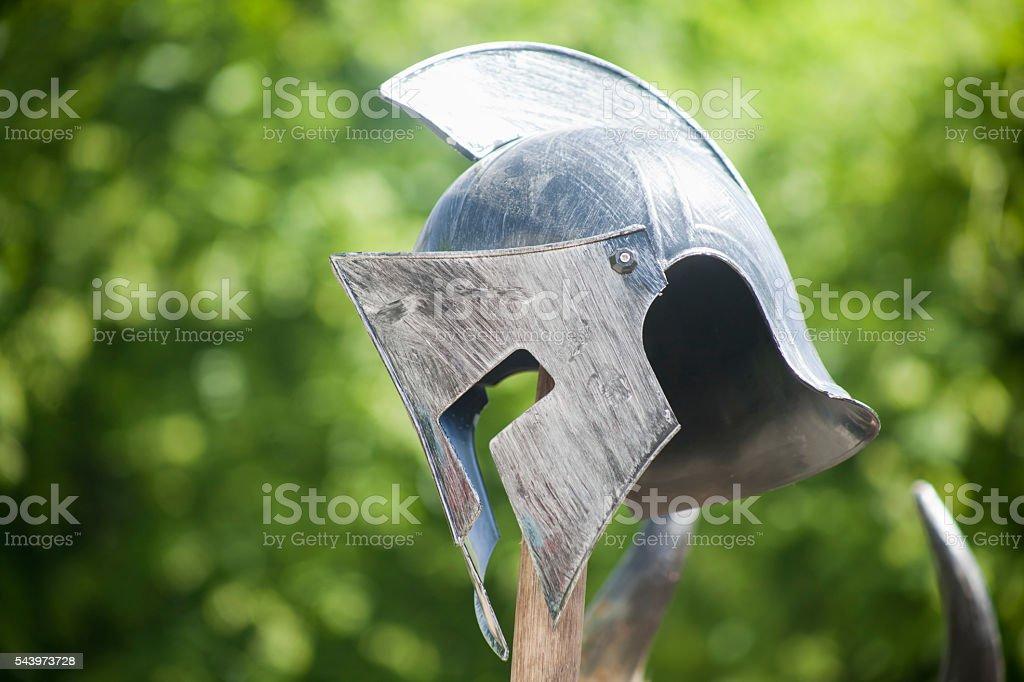 Roman soldier helmet, Arde Lucus traditional  festival. stock photo