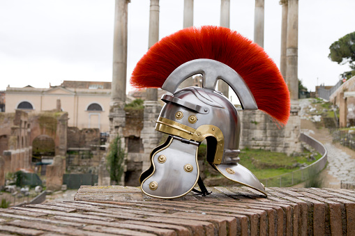 Roman soldier helmet in front of the Fori Imperiali, Rome.