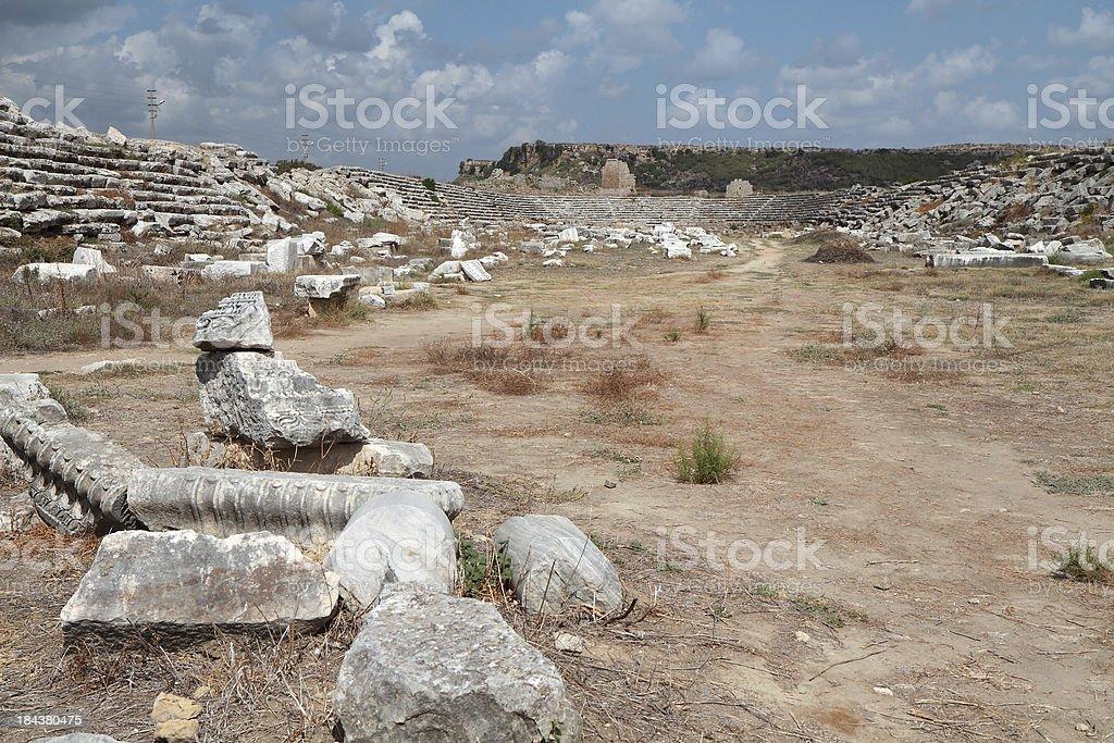 Roman Stadium, Ancient Perge, Turkey royalty-free stock photo