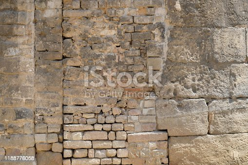 Details of exterior building Barcelona old church with brick and stone