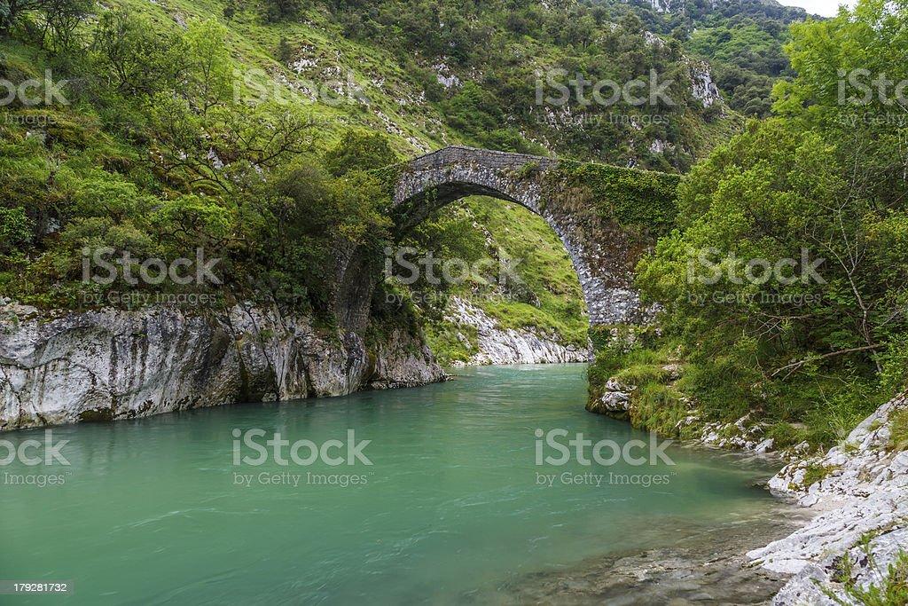 Roman stone bridge in Asturias royalty-free stock photo