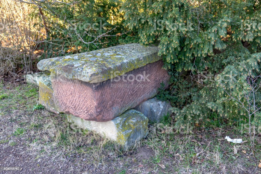 Roman stone coffins, sarcophagus, found in the South Palatinate near Bad Duerkheim, Germany, Rhineland Palatinate. stock photo