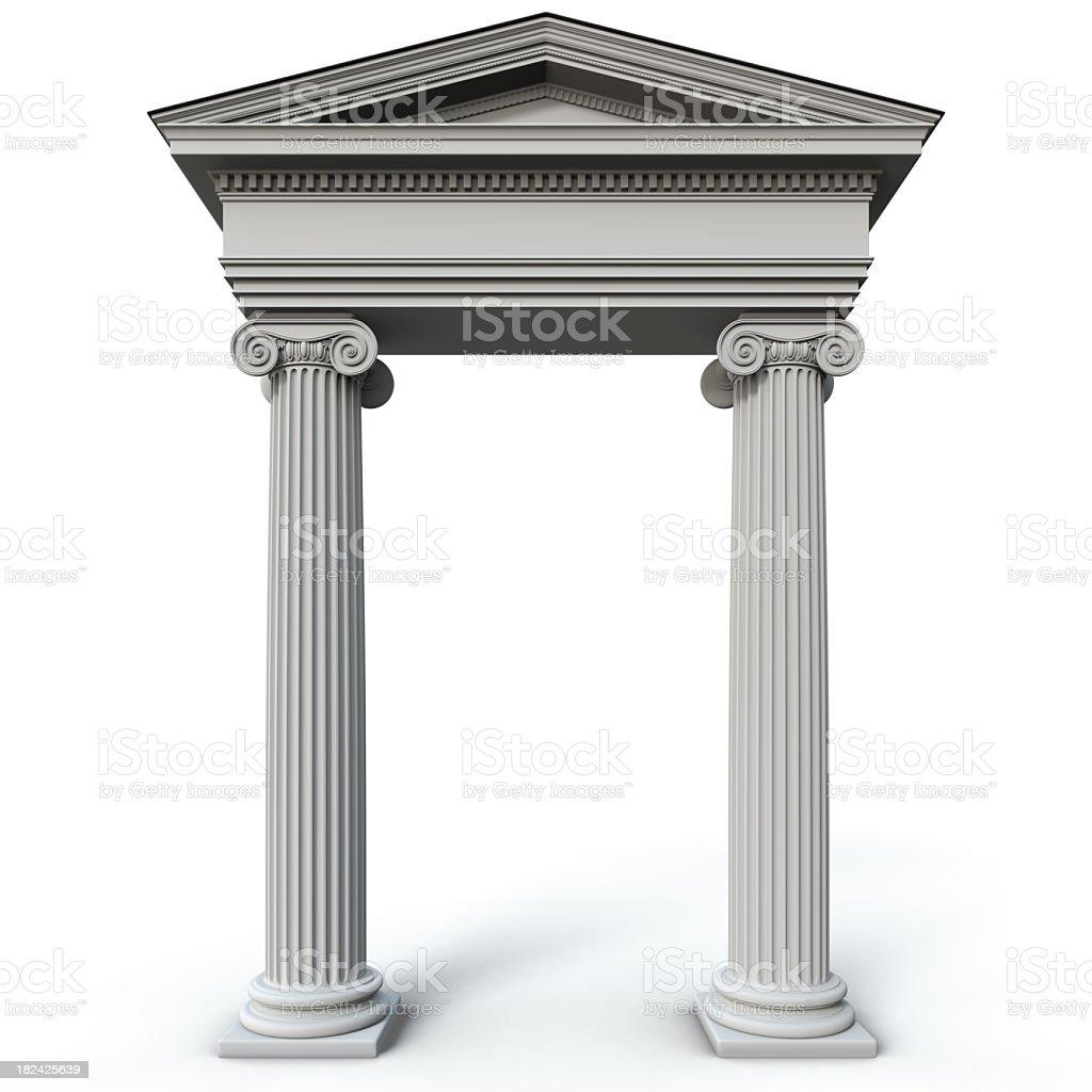 Roman style columns on a white background stock photo