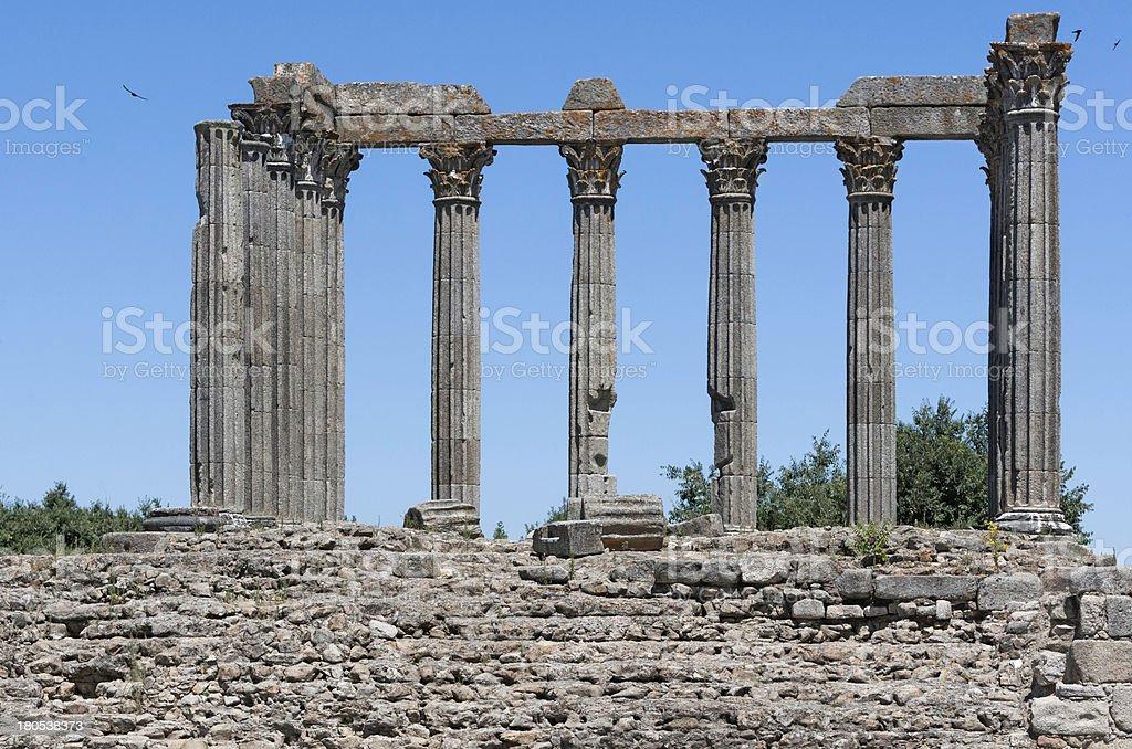 Roman Temple at Evora Portugal stock photo