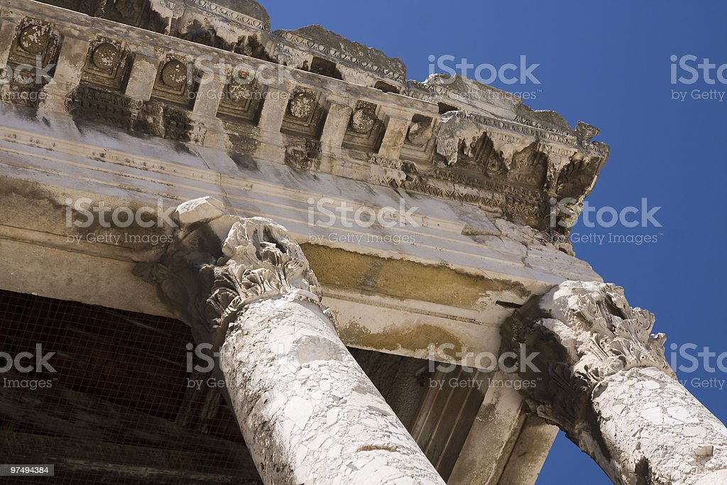 Roman temple cornice (Pula,Croatia) royalty-free stock photo