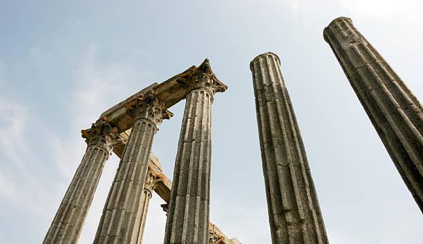Roman temple detail in Évora Portugal stock photo