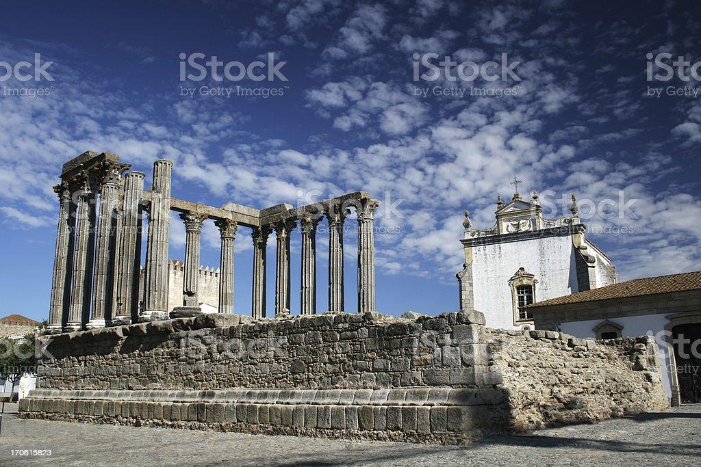 Roman temple in Évora stock photo