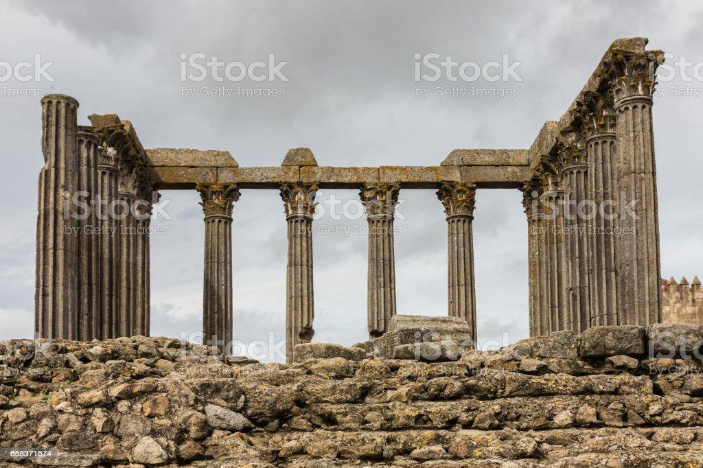 Roman temple in Evora stock photo