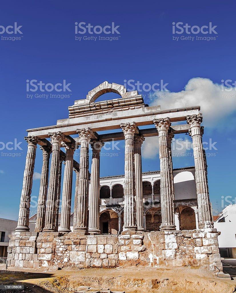 Roman temple in Merida royalty-free stock photo