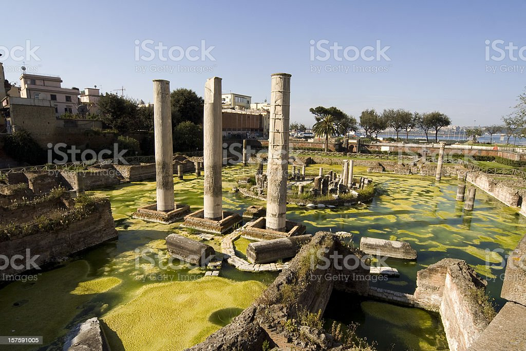 Roman Temple in Pozzuoli, Bay of Naples, Italy stock photo