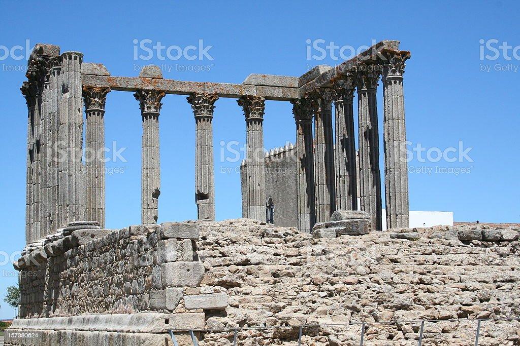 Roman Temple in Évora, Portugal stock photo
