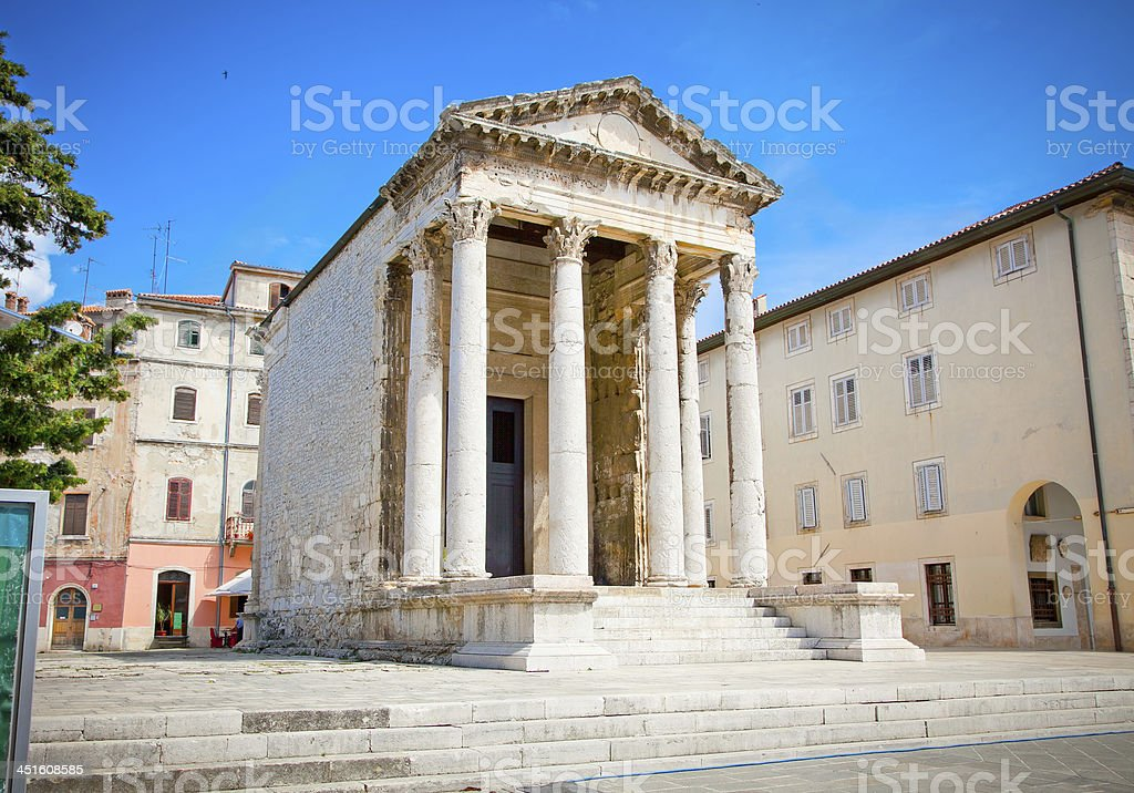 Roman temple of Augustus in the Forum place, Pula, Croatia. stock photo