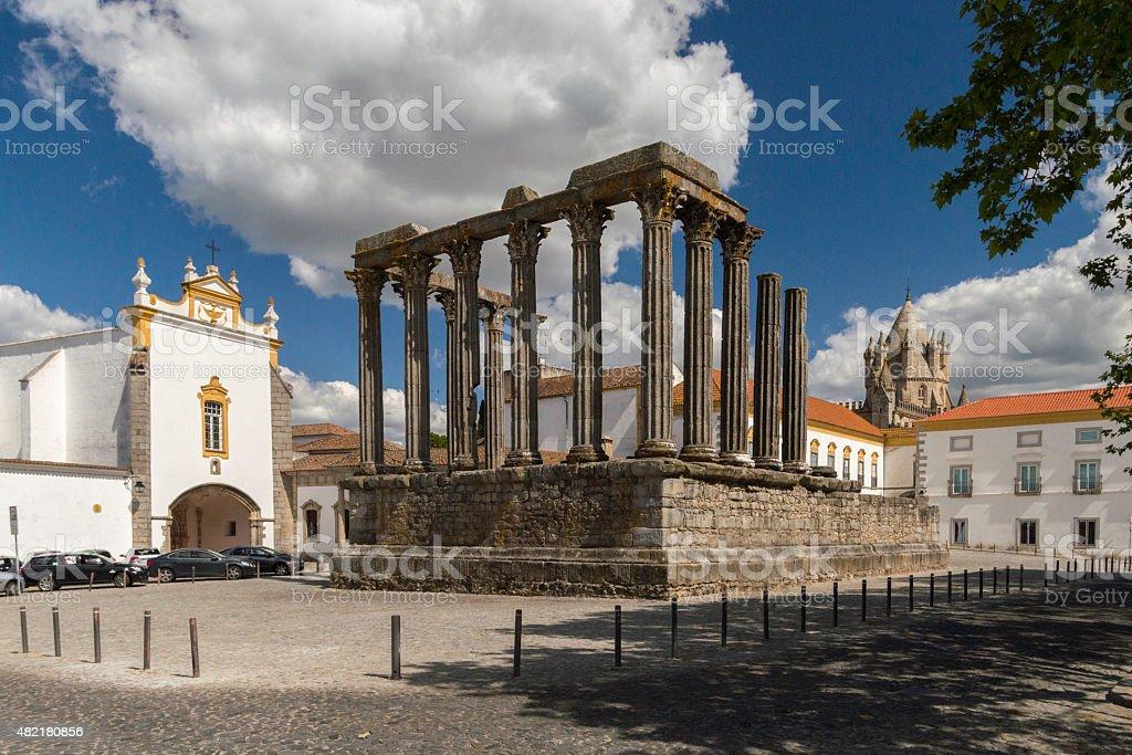 Roman temple of Diana, Evora, Portugal stock photo