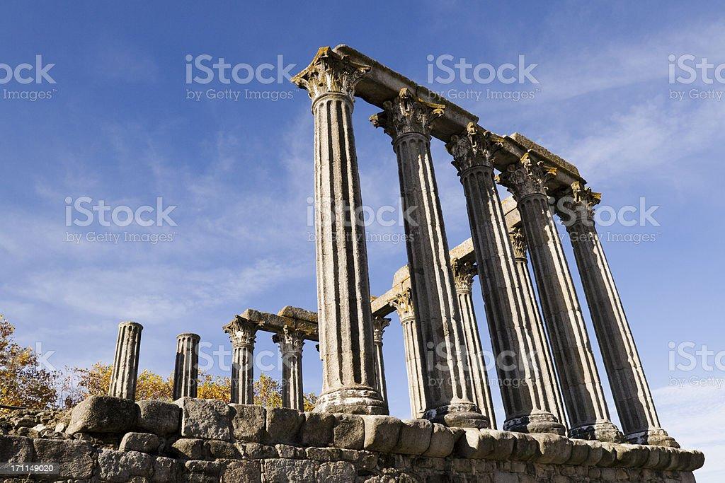Roman Temple of Diana in Evora stock photo