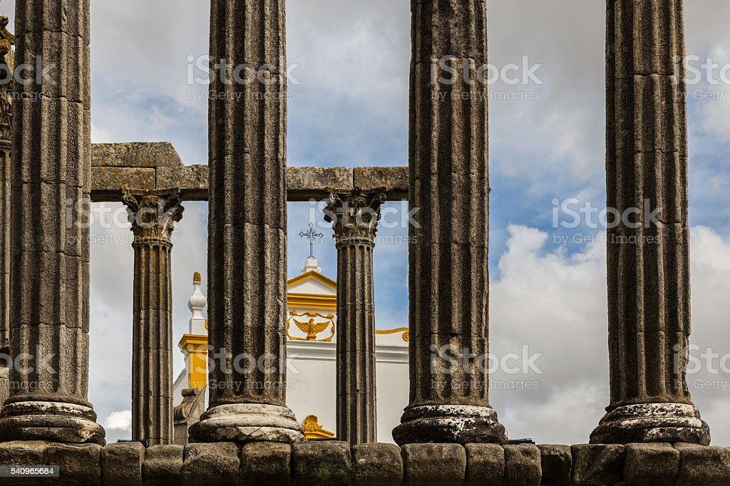 Roman Temple of Evora stock photo