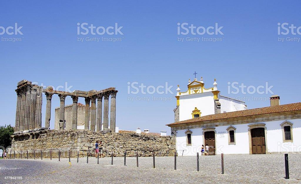 Roman temple of Evora, Portugal royalty-free stock photo
