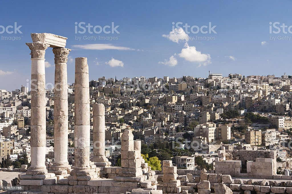 Roman temple of Hercules in the Amman Citadel in Jordan stock photo