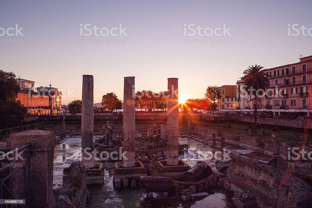 Roman Temple of Serapide, Pozzuoli, Italy. stock photo
