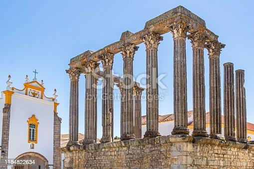 istock Roman Temple or Temple of Diana in Evora 1154822634