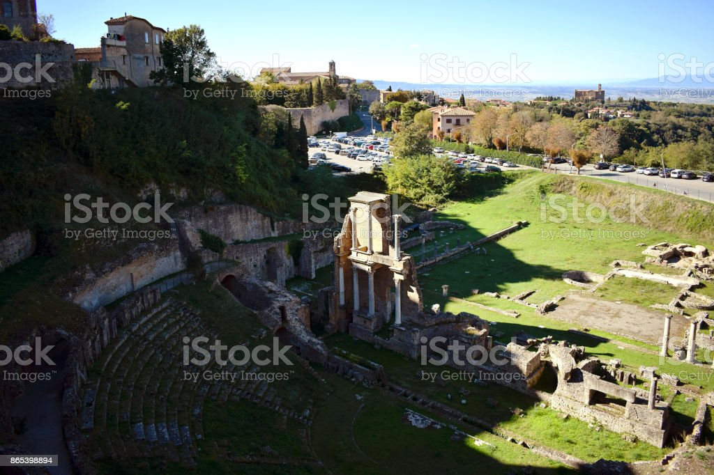 Roman Theater in Volterra, Italy. stock photo