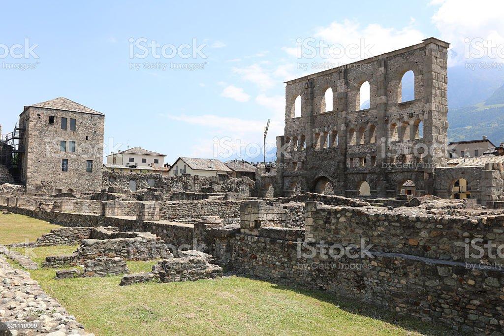 Roman Theater of Aosta stock photo