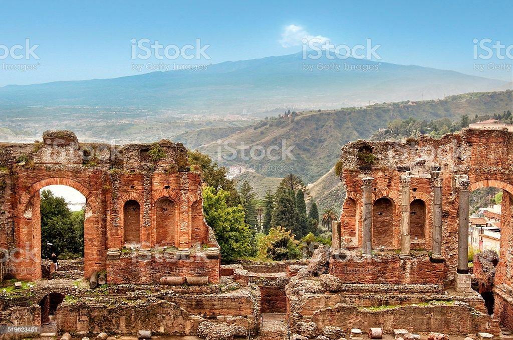 Roman theater of Taormina, Sicily, Italy stock photo