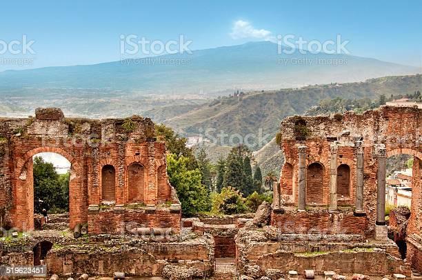 Roman Theater Of Taormina Sicily Italy Stock Photo - Download Image Now