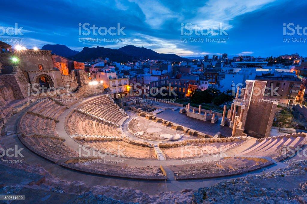 Roman Theatre in Cartagena stock photo