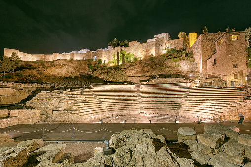 Roman Theatre In Malaga Spain At Night Stock Photo - Download Image Now