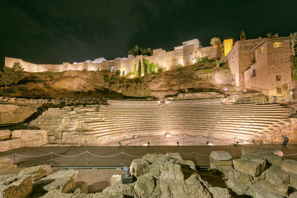 Roman theatre in Malaga, Spain at night