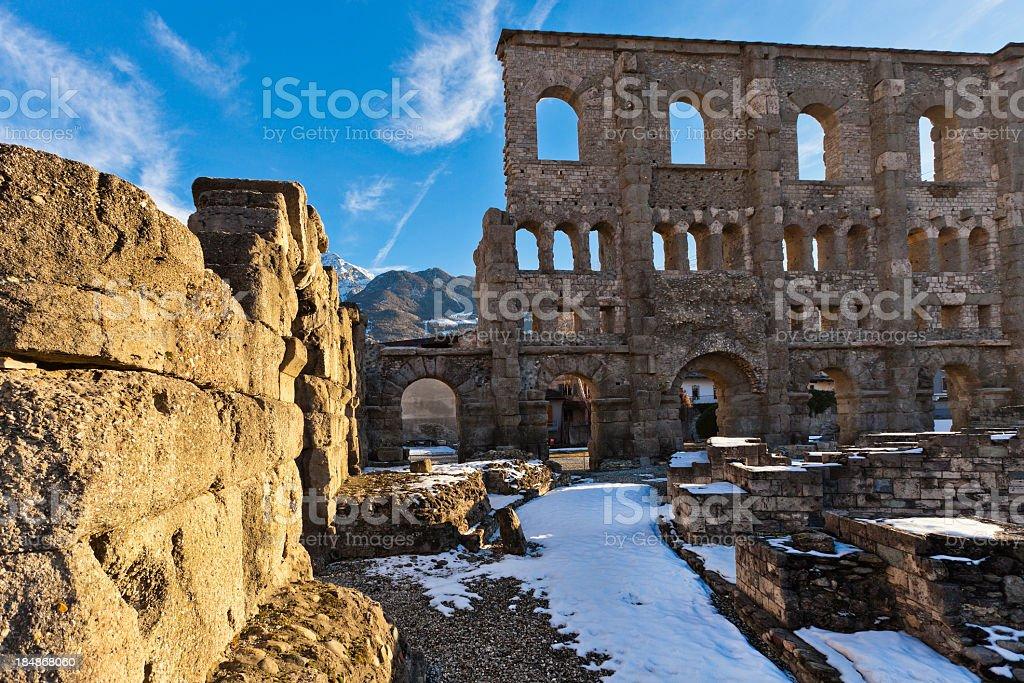 Roman Theatre of Aosta royalty-free stock photo