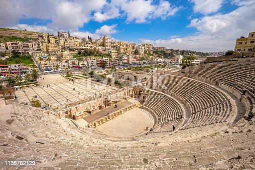 Aerial view of Roman Theatre in Amman, Jordan