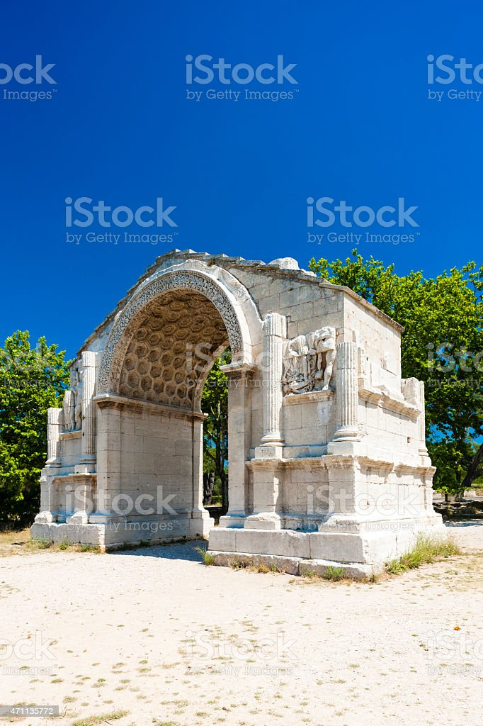 Roman Triumphal arch, Glanum stock photo